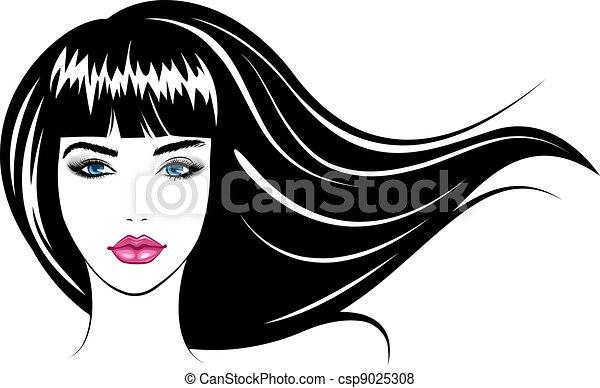 girl., vettore, illustrazione, faccia - csp9025308