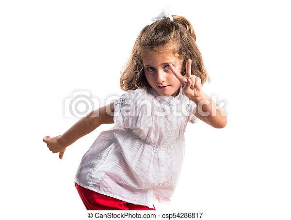 girl, victoire, geste - csp54286817