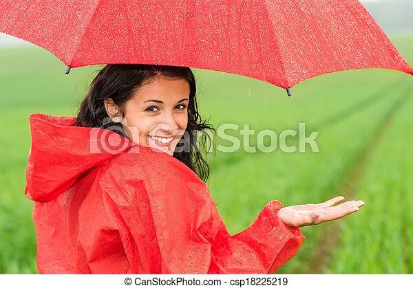 girl, vif, pluie, adolescent - csp18225219