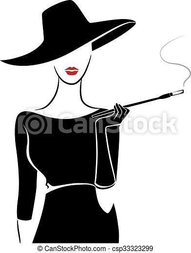 Girl vintage fashion stencil cigar. Stencil illustration ...