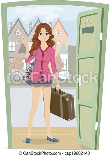 Girl Visiting Friend - csp19602140