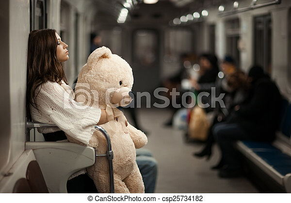 girl, voiture., métro, ours - csp25734182