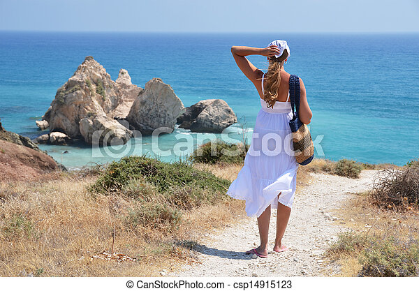 Girl walking to the beach at the Aphrodite birthplace, Cyprus - csp14915123
