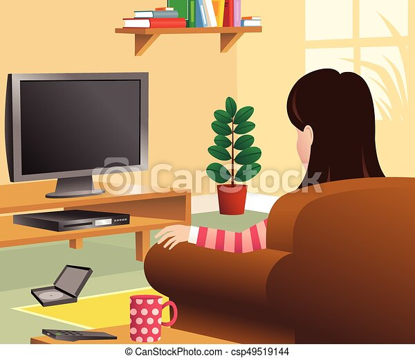 Girl Watching Tv In Living Roomeps Vector
