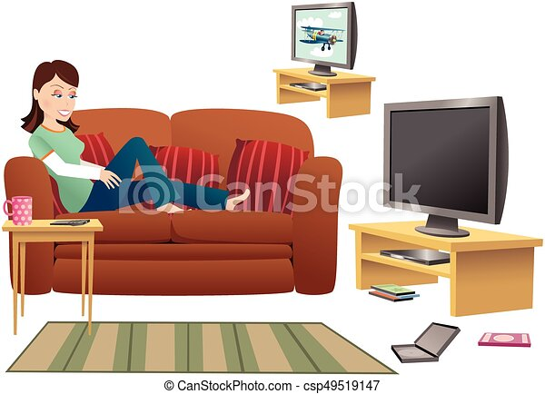 Girl Watching TV On Sofa.eps   Csp49519147