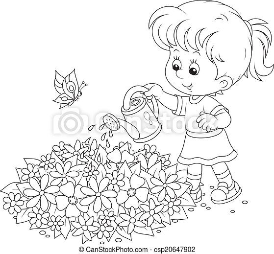 vector clipart of girl watering flowers - little girl watering