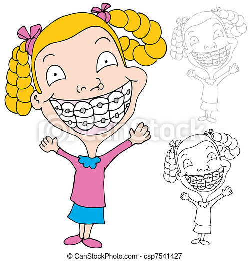 Girl Wearing Braces An Image Of A Girl Wearing Braces Canstock