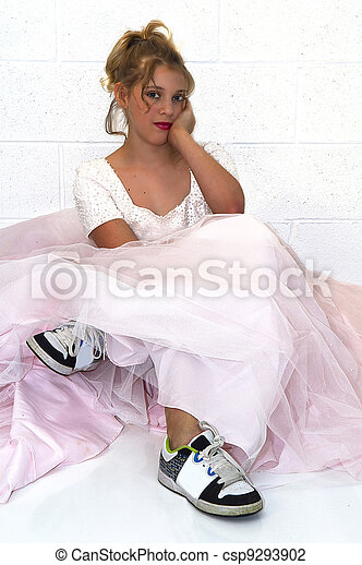 Girl Wearing Sisters Prom Dress Girl Dreaming While Wearing