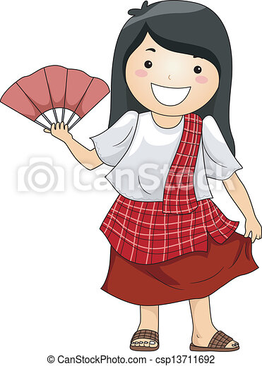 Illustration of a happy little girl wearing traditional ...