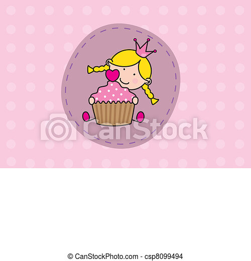 Girl with a cake - csp8099494