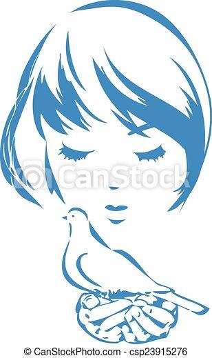 Girl with a dove - csp23915276