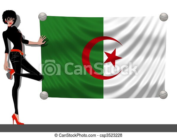 Girl with a Flag of Algeria - csp3523228