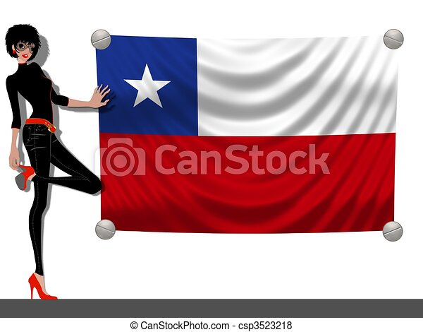 Girl with a Flag of Chile - csp3523218
