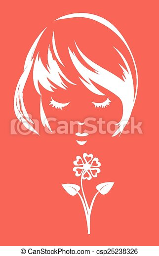 Girl with a flower - csp25238326