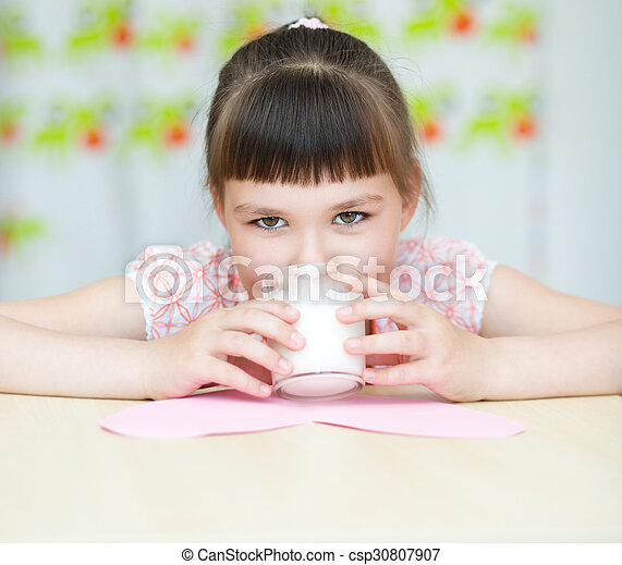 Girl With A Glass Of Milk Cute Girl With A Glass Of Milk