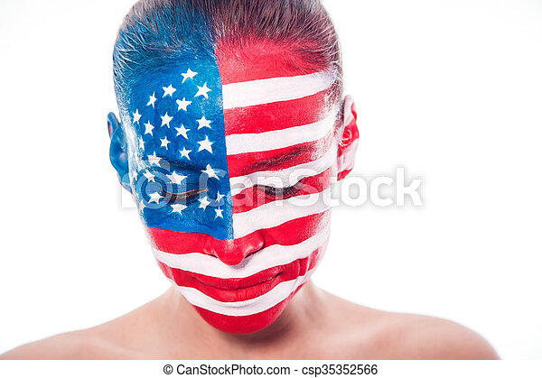 Girl with a painted American flag, closeup - csp35352566