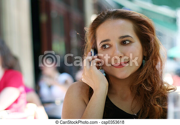 Girl with a phone - csp0353618