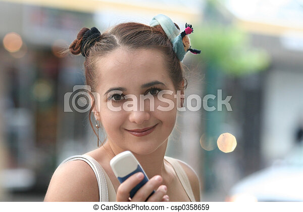 Girl with a phone - csp0358659