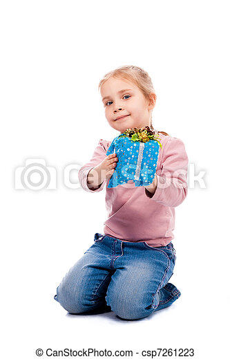 girl with a present box - csp7261223