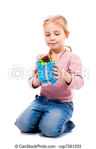 girl with a present box - csp7261233