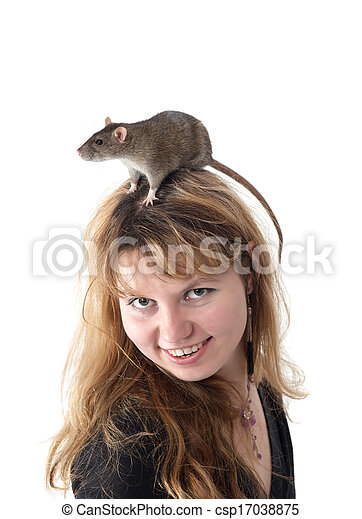 girl with a rat on a head - csp17038875