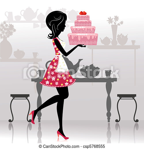 Girl with a romantic cake - csp5768555