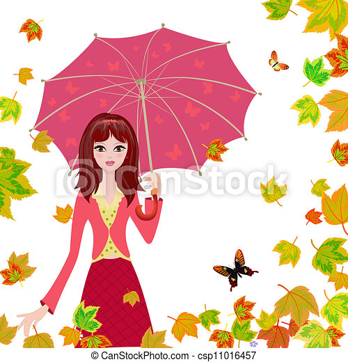 Girl with an umbrella in the autumn falling leaves - csp11016457