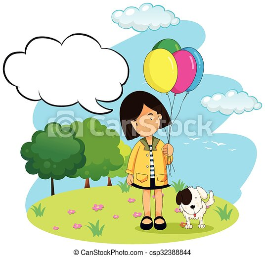 Girl with balloons and her pet dog - csp32388844