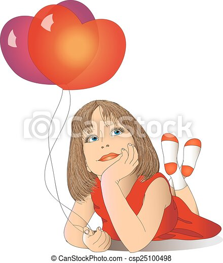 girl with balloons in a red dress - csp25100498