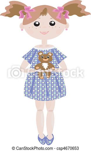 Girl with bear - csp4670653