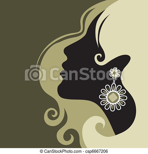 girl with beautiful hair - csp6667206