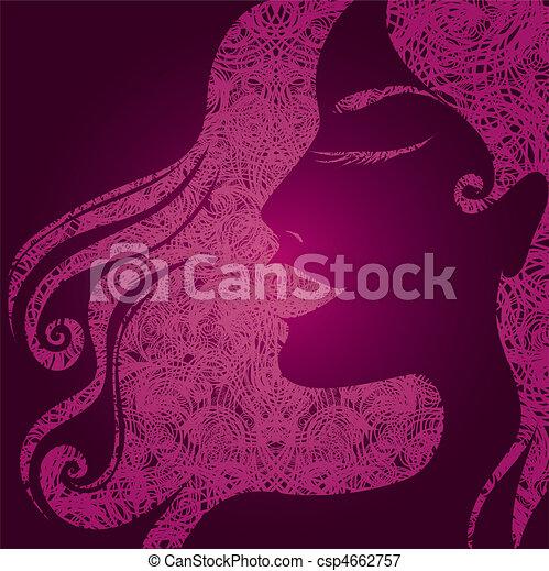 girl with beautiful hair - csp4662757