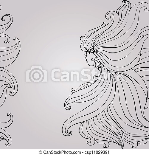 Girl with beautiful hair seamless - csp11029391