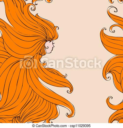 Girl with beautiful hair seamless - csp11029395