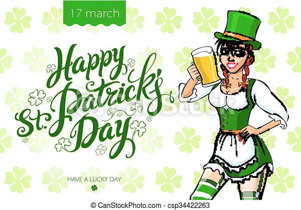 girl with beer, St. Patrick's Day - csp34422263