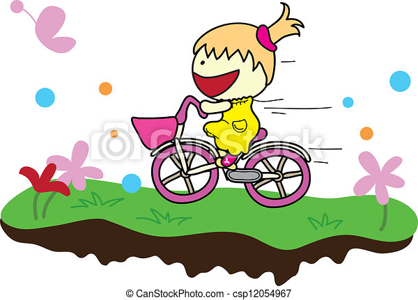 girl with bicycle - csp12054967