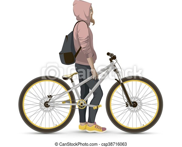 Girl with bike. - csp38716063