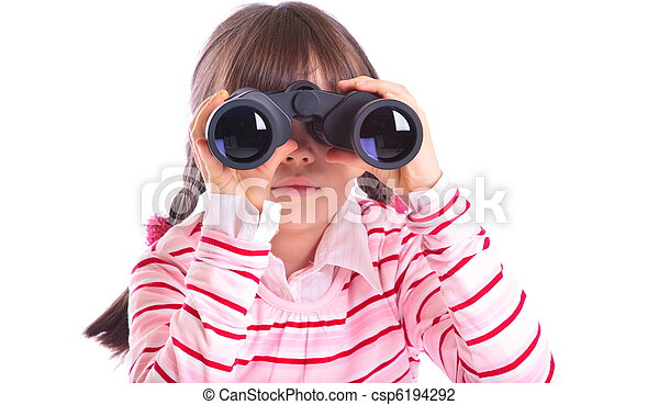 Girl with binoculars - csp6194292