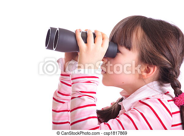 Girl with binoculars - csp1817869