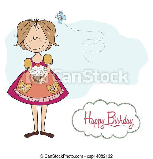 girl with birthday cake - csp14082132