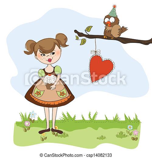 girl with birthday cake - csp14082133