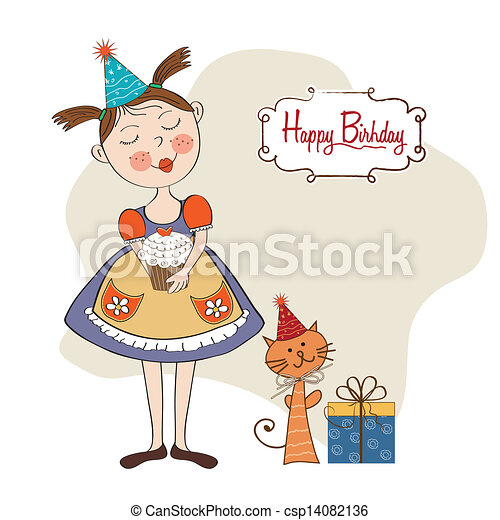 girl with birthday cake - csp14082136