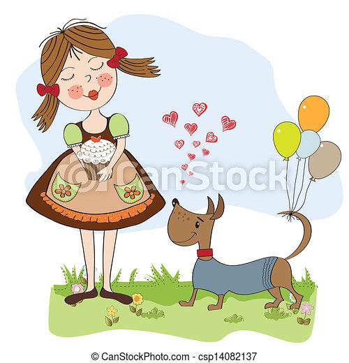 girl with birthday cake - csp14082137