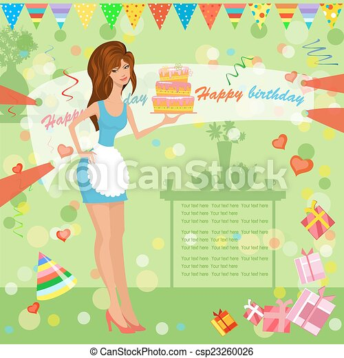 girl with birthday cake - csp23260026