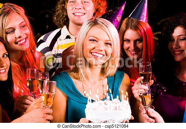 Girl with birthday cake - csp5121084