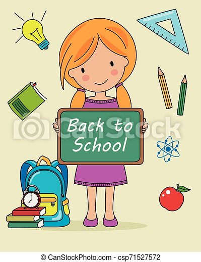 Girl with blackboard and objects for school - csp71527572
