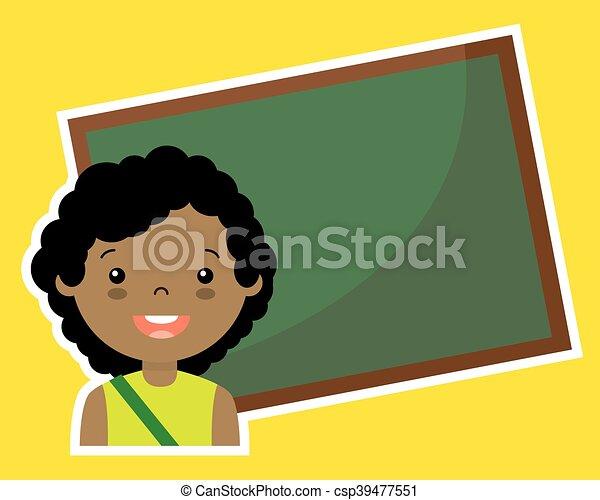 Girl with blackboard - csp39477551