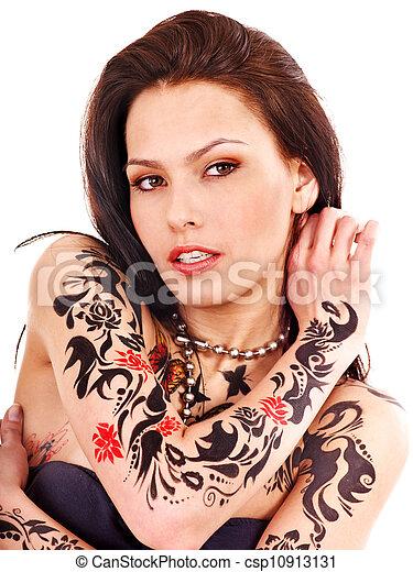 Girl with body art. - csp10913131