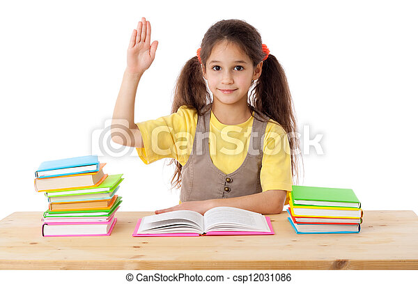 Girl with books and raises his hand up - csp12031086