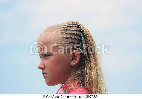 Girl With Braids on a Beach - csp13970831